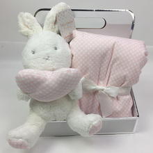 75 * 100cm Hot Sale Gift Box With Cute Animal Doll + Blanket Coral Velvet Baby Bedding Rabbit Elephant Plush Toy