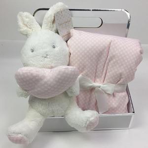 Image 1 - Boîte cadeau avec Animal mignon 75x100cm, couverture en velours de corail, jouet en peluche, lapin et éléphant, literie pour bébé