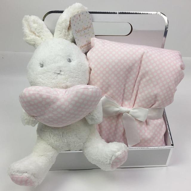 Boîte cadeau avec Animal mignon 75x100cm, couverture en velours de corail, jouet en peluche, lapin et éléphant, literie pour bébé