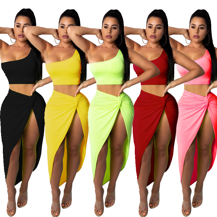 Independent Station 2019 Hot Selling European And American-Style Plus-sized Women's Pleated Solid Color Skirt Casual Set Two-Pie