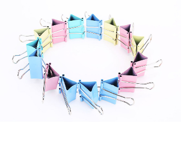 10Pcs Colorful Metal Binder Clips  Notes Letter Paper Clip Office Supplies Color Random Office Binding Products OBT013