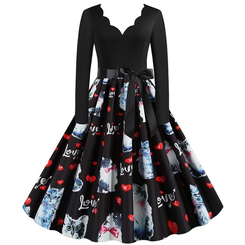Women Long Sleeve Winter Vintage Dresses Sexy Black Music Note Print V-neck Rockabilly Pin up Party Dress Vestidos Plus size 605