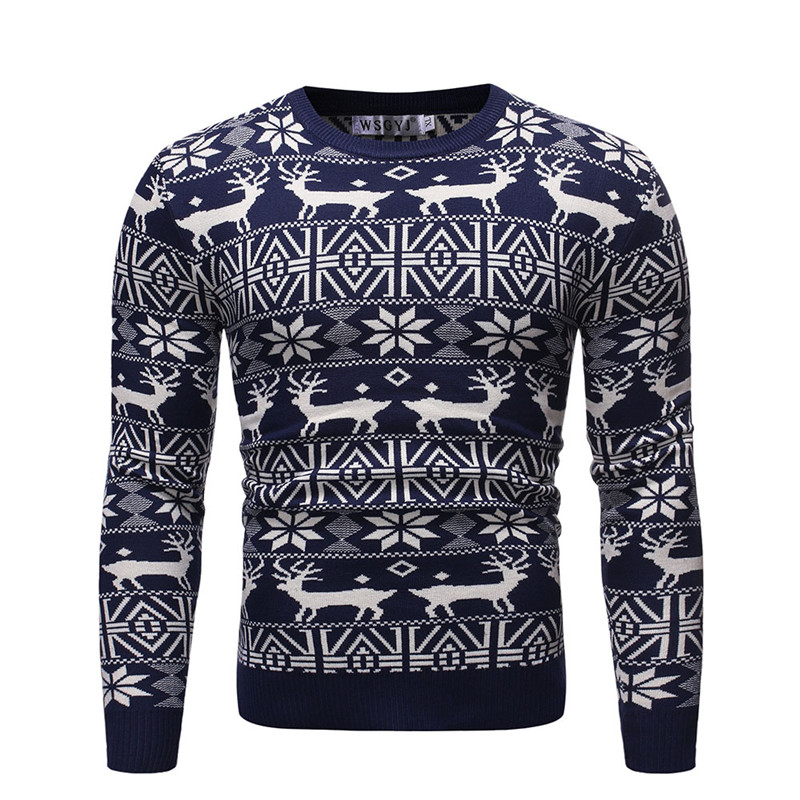 NEGIZBER 2019 Autumn Winter Pullovers Men Deer Print O-neck Sweater Men Fashion Casual Warm Mens Sweater