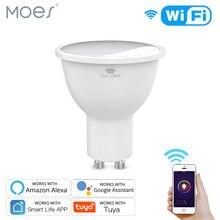 Gu10 lâmpadas led inteligentes rgbw c + w, lâmpadas brancas 4.5w reguláveis, vida inteligente, luz de controle remoto lâmpadas funcionam com alexa/google