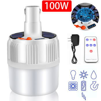 60/80/100W Camping Light Outdoor Solar LED Bulb Lights Battery Charge Portable LED Lantern Light Home Night Market Tent Lamp