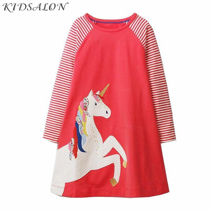 Baby Girls Unicorn Dress Long Sleeve Children Princess Dress Animal Applique Christmas Costume for Kids Dresses Girl Clothes Dresses    - AliExpress