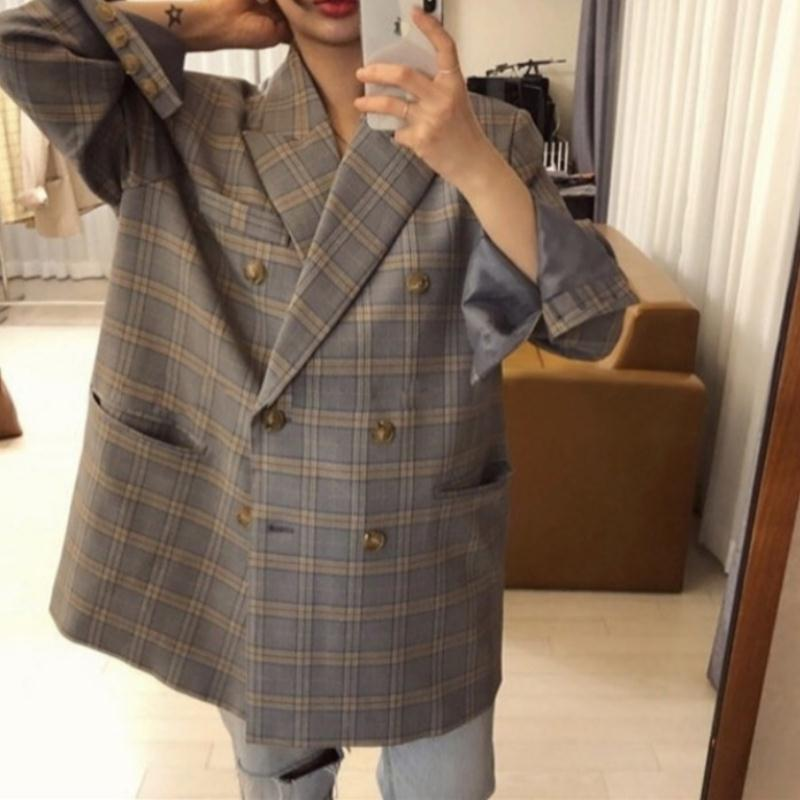 Spring Autumn New Style Loose Sense of Design Retro Mid-length Plaid Small Suit OVERSIZE Plaid Blazer Women's Coat