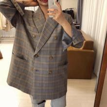 Spring Autumn New Style Loose Sense of Design Retro Mid-length Plaid Small Suit OVERSIZE Plaid Blazer Women's Coat plaid loose fitting pocket design coat