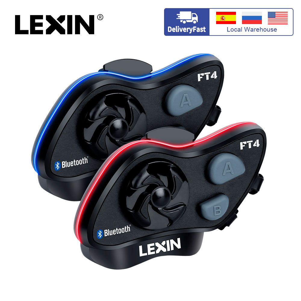 2019 LEXIN LX-FT4 2PCS 1-4 Rider Motorcycle Bluetooth Helmet Headset Intercom with FM radio for Motorcycle/Off-Road/Snowmobile(China)