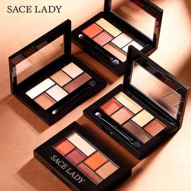 SACE LADY Glitter Eyeshadow Palette Waterproof Makeup Pigment Cosmetics 6 Colors Shimmer Eye Shadow Pallete Matte Naked Make Up 5