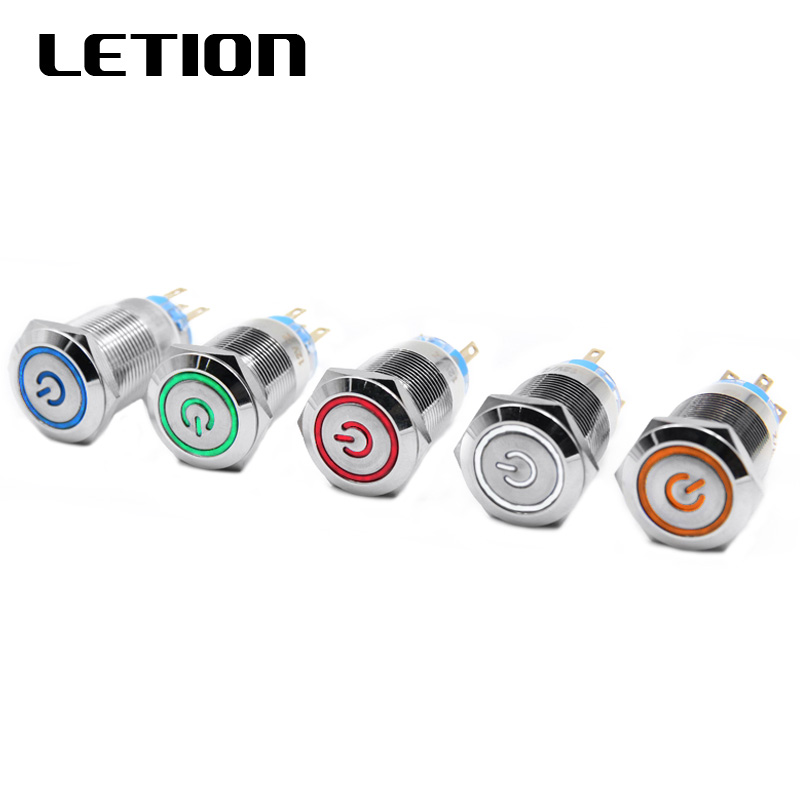 1PC <font><b>19mm</b></font> Waterproof momentary latching Stainless Steel Metal Doorbell Bell Horn Push Button <font><b>Switch</b></font> <font><b>LED</b></font> Car Auto Engine image