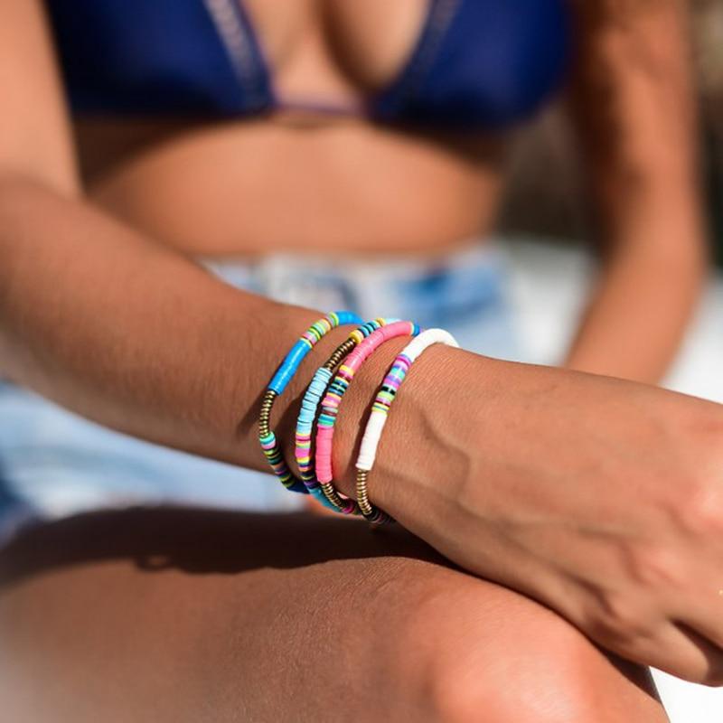 Bohemian Polymer Clay Discs Bracelet Women Handmade Adjustable Beads Charm Bracelets Men Jewelry