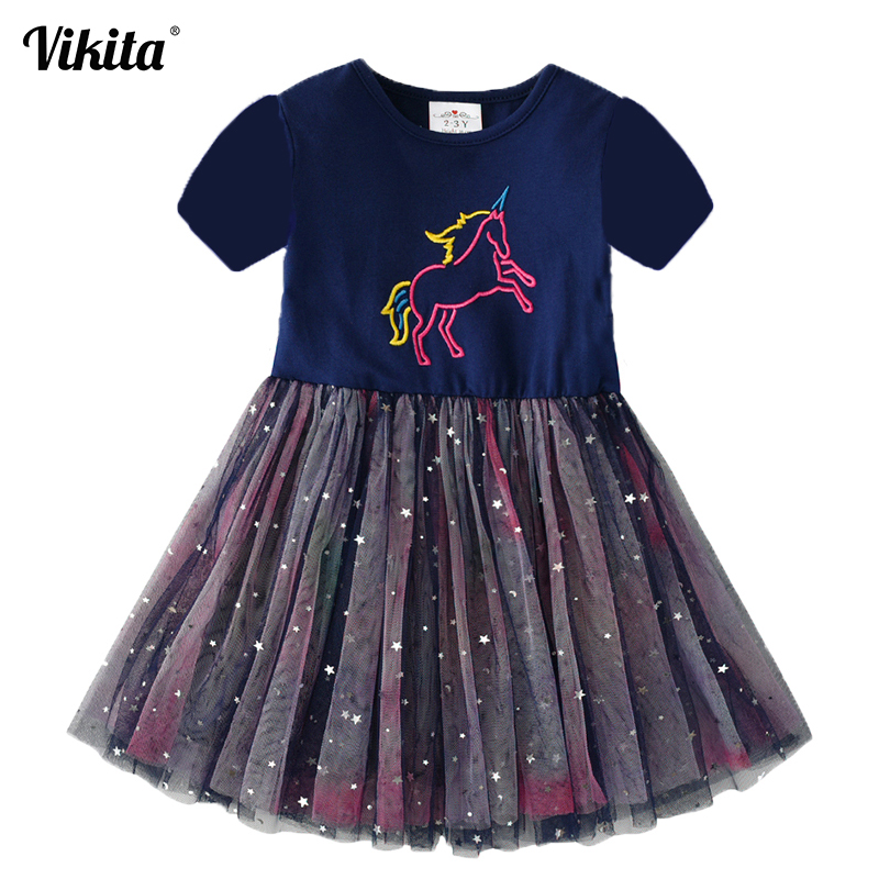 VIKITA Girls Unicorn Dress Cotton Toddlers Princess Tutu Dress Children Licorne Party Vestidos Kids Summer Dresses For Girls