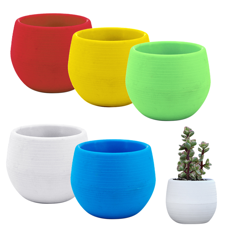 Mini Creative Eco-friendly Colourful Round Plant Pot Plastic Flower Pots Plants Bonsai Nursery Pots Garden Home Office Decor
