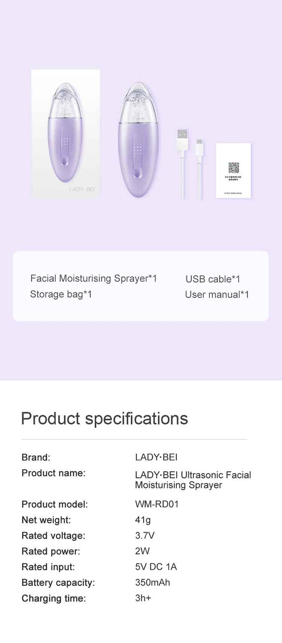 Xiaomi youpin portátil facial névoa pulverizador ultra-sônico