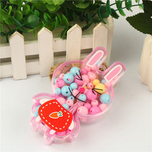 Children Peggy Bunny Lips Beaded Cartoon Handmade DIY Toy Puzzle Making Material Pack Baby Wear Beads Necklace Bracelet