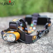 Yupard 2* XM-L T6 светодиодный налобный фонарь светильник водонепроницаемый походный охотничий яркий головной светильник+ перезаряжаемый аккумулятор 18650+ зарядное устройство