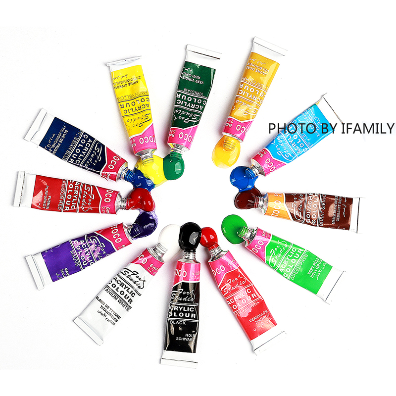 12Colors Professional Acrylic Paints Set Hand Painted Wall Painting Textile Paint Brightly Colored Art Set With Brush