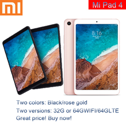Original Mi Pad 4 32GB/64GB Tablets 4 Snapdragon 660 AIE CPU Tablet 8.0'' 16:10 Screen 13MP Bluetooth 5.0 6000mAh Battery