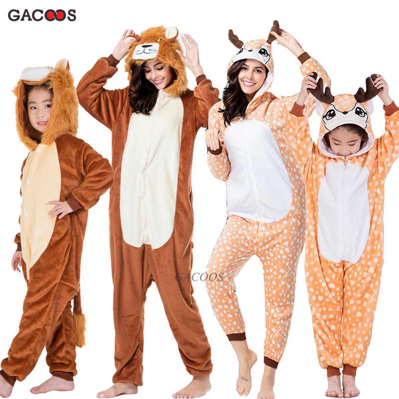 Meninos meninas kugurumi pijamas pijamas unicórnio veados flanela inverno animal com capuz ponto onesies pijamas crianças pijamas