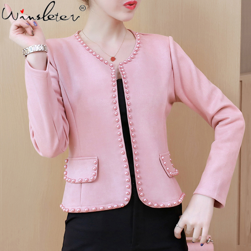 Spring Women Suede Blazer Cardigans No Button Pearl Beading Bordered Short Coat Long Sleeve Cape Jacket Plus Size S-4XL C03202B