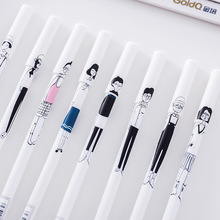 48pcs/set South Korean Stationery Lovely Simple Creative Hand Drawn Characters Gel Pen Office Black Ink Signature Pen Wholesale