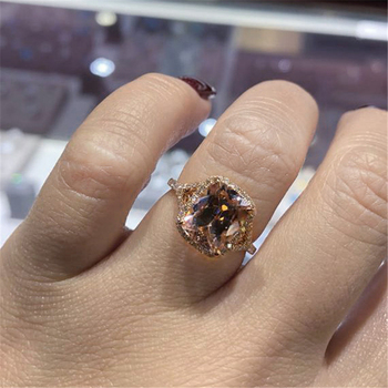 100% Real 10K Rose Gold Ring for Women Origin Natural 1.5 Carat Topaz Gemstone Luxury Anillos Mujer Engagement Rectangle Rings image