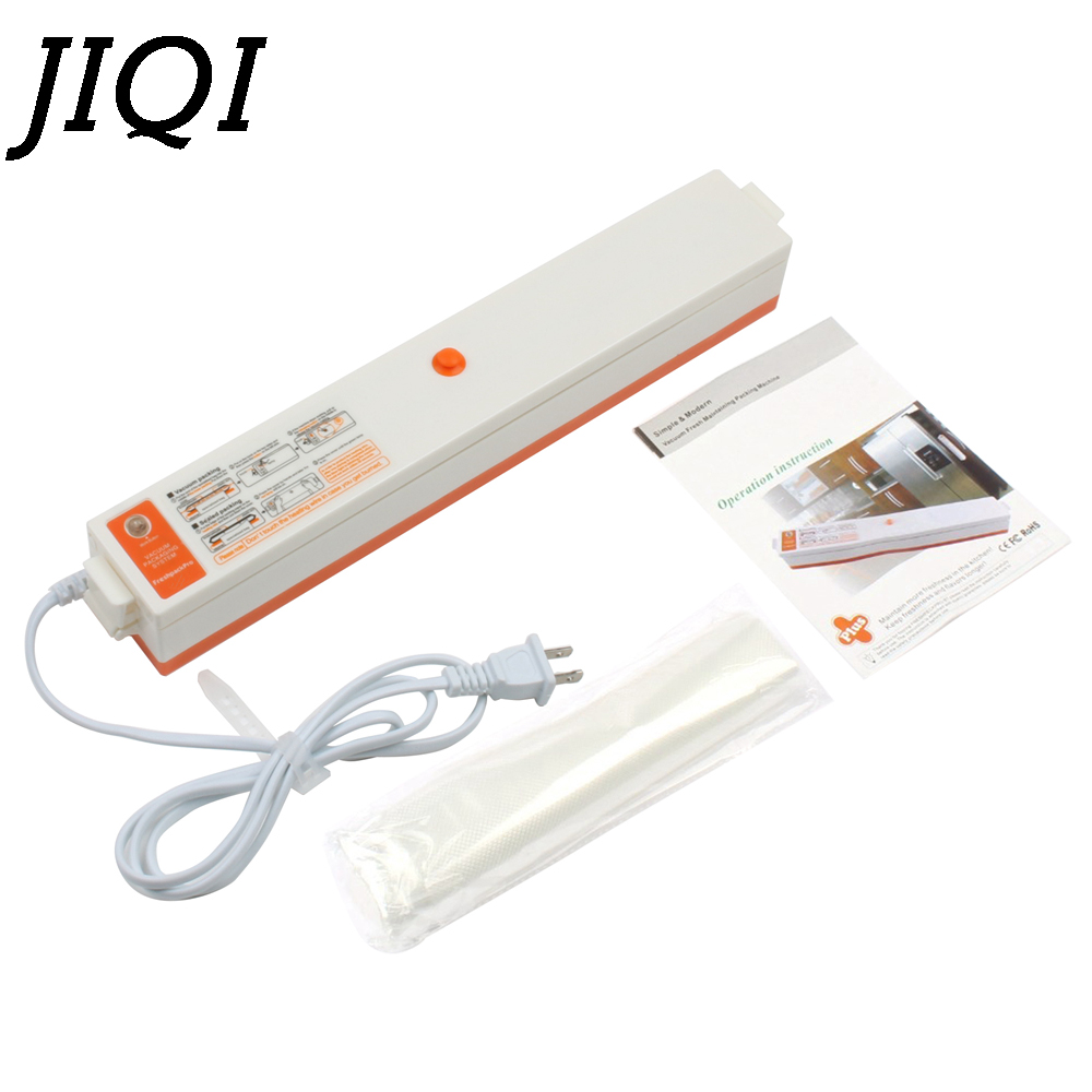 JIQI Full-automatic Food Vacuum Sealer Packing Machine Household Film Sealer EU US Plug 10pcs Vacuum Bags Provided 220V 110V