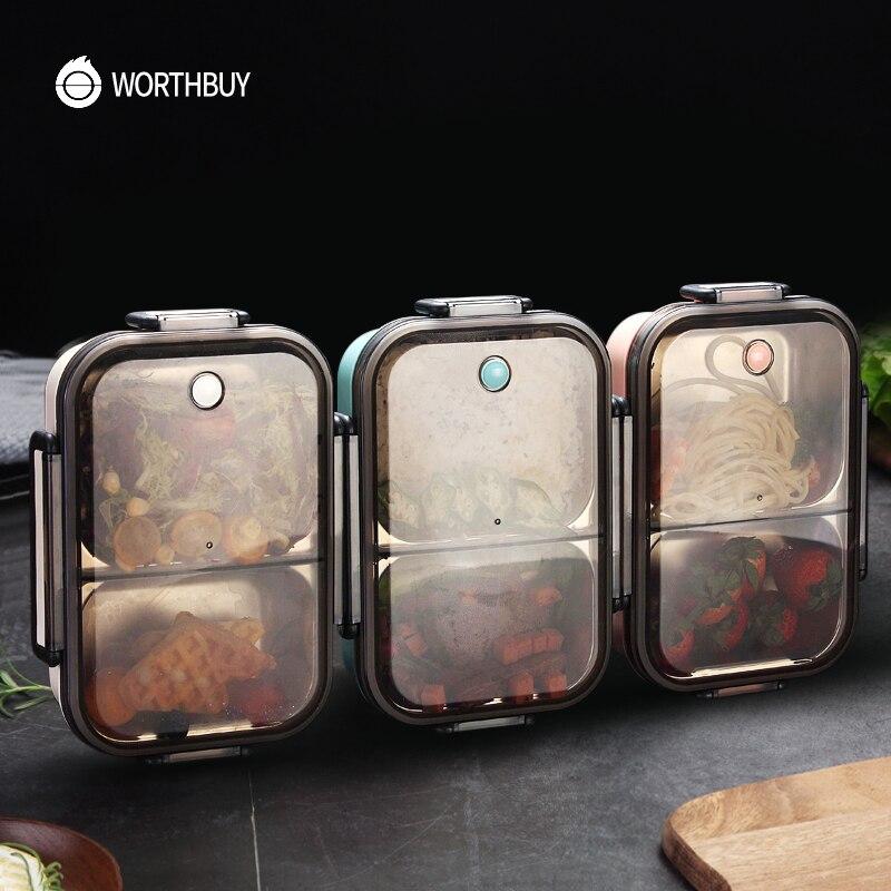WORTHBUY japon yemek kabı bölmesi ile 304 paslanmaz çelik Bento kutusu çocuklar için okul gıda konteyner sızdırmaz yiyecek kutusu
