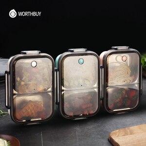 Image 1 - WORTHBUY nova lancheira japonesa para crianças escola 304 aço inoxidável bento lancheira à prova de vazamento recipiente de alimentos crianças caixa de comida