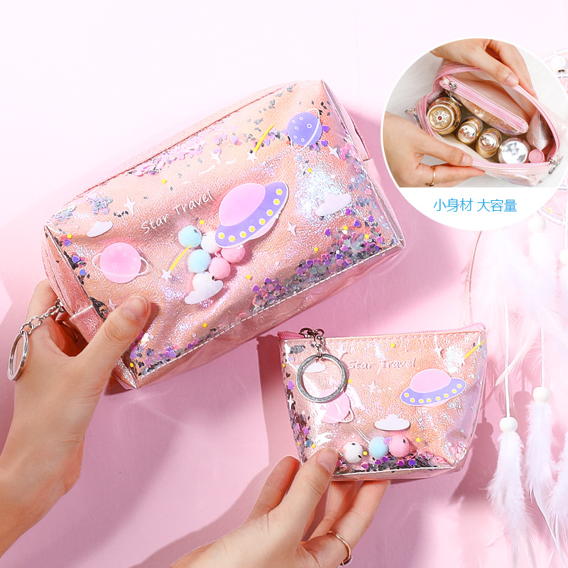 Women Quicksand Makeup Bag Laser Sequin Women Zipper Cosmetic Organizer Storage Travel Portable Beauty Wash Pouch Bag