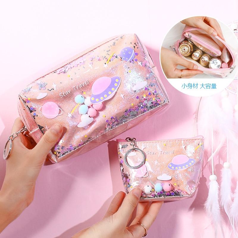 Women Quicksand Makeup Bag Laser Sequin Women Zipper Cosmetic Organizer Storage Travel Portable Beauty Wash Pouch Bag