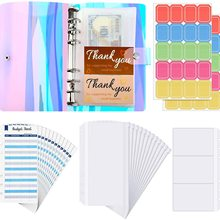 28 Pieces A6 Binder PVC Notebook  Waterproof 6-Ring Binder Cover with Pockets Budget Sheets Card Bag and Labels