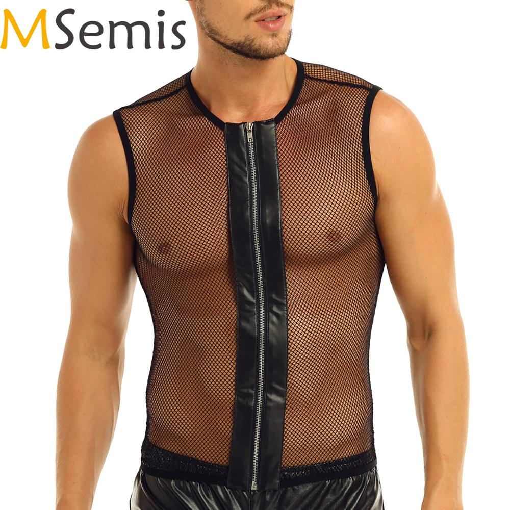 MSemis Mens Mesh Sheer Crop Top Wetlook Leather Muscle Tank Vest T-Shirt Undershirts Clubwear