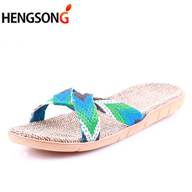 Summer Cross Belt Slippers Women Chain Slides Home Floor Shoes Flax Cross Belt Silent Sweat Slippers Female Sandals 2