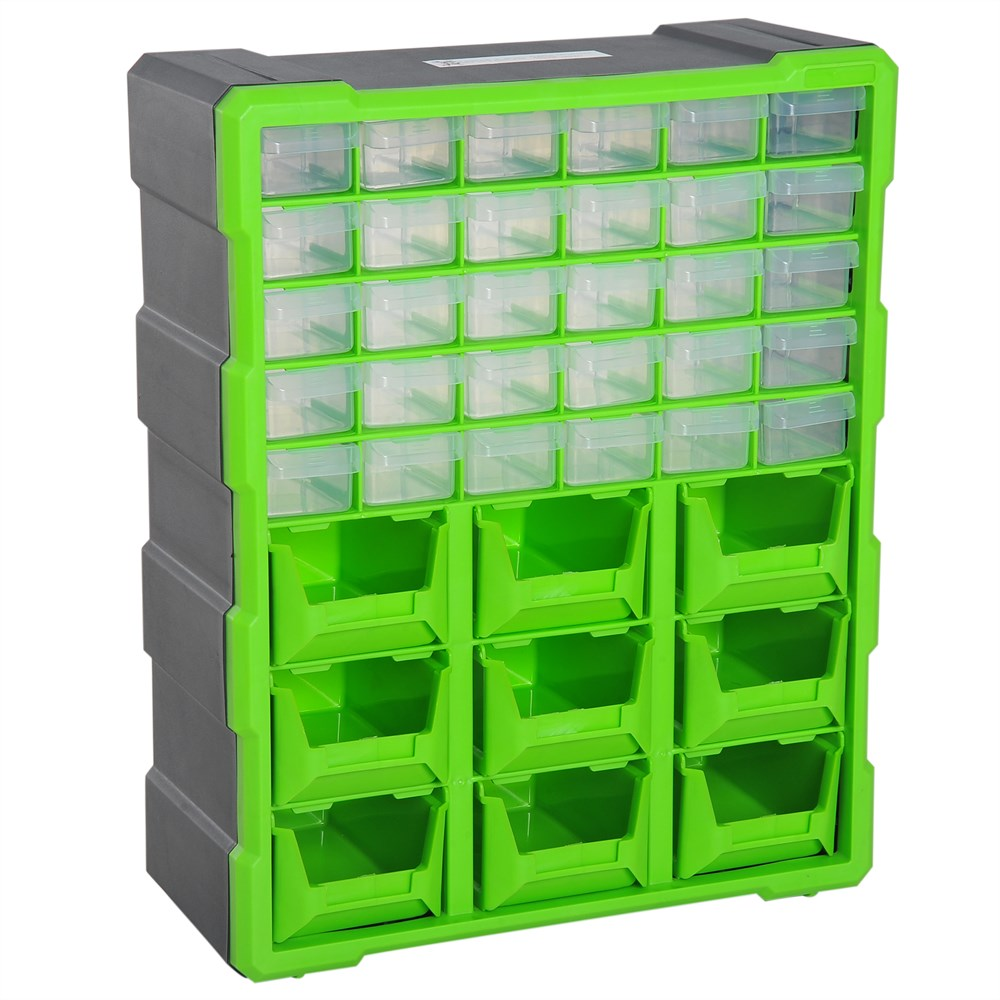 DURHAND Hardware Door Drawer Box With 30 Drawers And 9 Big Boxes For Workshop Plastic 38 × 16 × 47.5 Cm