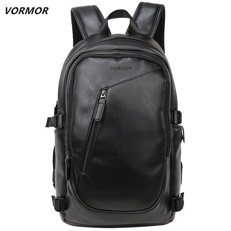 Мужской кожаный рюкзак VORMOR, повседневный водонепроницаемый рюкзак для ноутбука 15,6 дюйма, для подростков, 2019