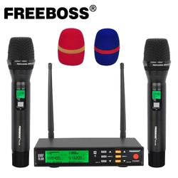 Freeboss FB-U58 UHF 2*200 Adjustable Frequency Metal handheld LCD Screen Smart Option ECHO and EQ effec Microphone System for DJ