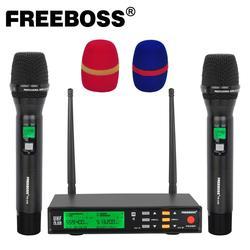 Freeboss FB-U58 UHF 2*200 Adjustable Frequency Metal handheld LCD Screen Smart Option ECHO and EQ effec Microphone System for DJ