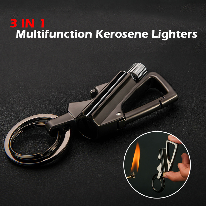 3 In 1 Multifunction Metal Flame Kerosene Lighters Retro Torch Lighter Novelty Gadget Gift Key Smoker Defense Tactical Light