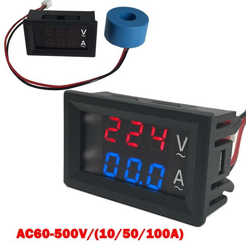 Вольтметр 60-500 В, вольтметр, амперметр дюйма, двойной светодиодный дисплей, 2 в 1, измеритель напряжения с трансформатором тока