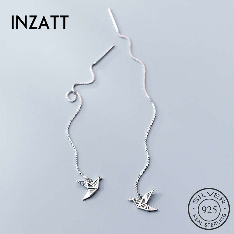 INZATT Real 925 Sterling Silver Zircon Crane Stud Earring For Fashion Women Part Cute Fine Jewelry Minimalist Accessories Gift