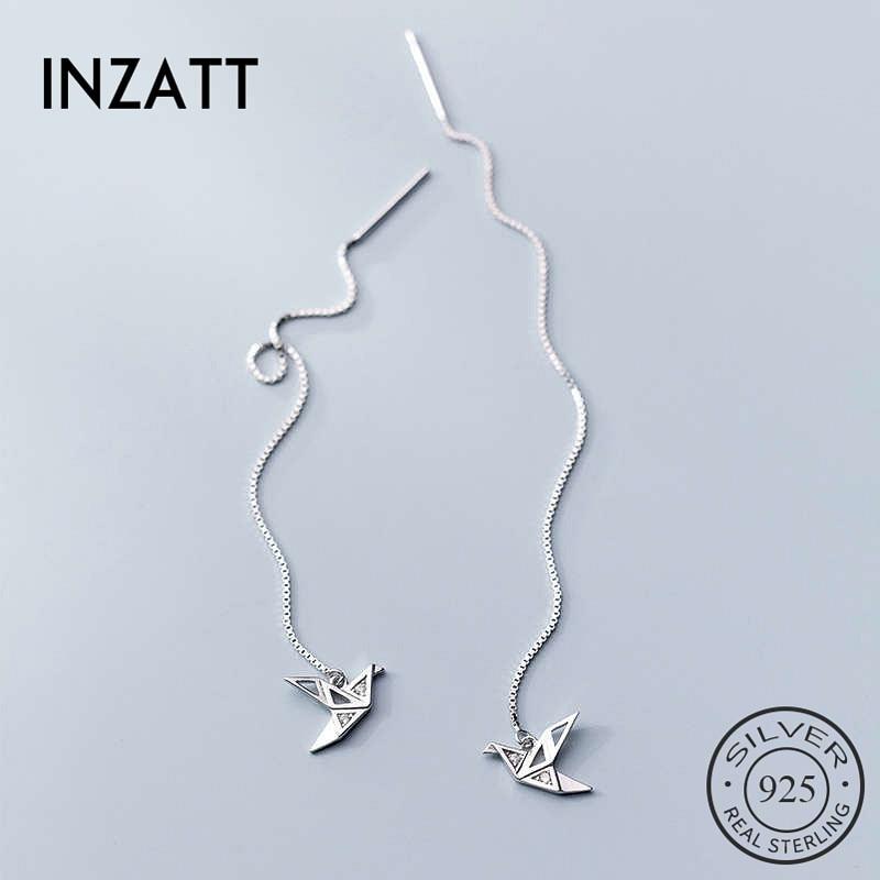 INZATT Real 925 Sterling Silver Zircon Crane Stud Earring For Fashion Women Part Cute Fine Jewelry Minimalist Accessories Gift