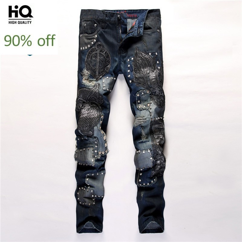 New Man Full Length Rivet Jeans Casual Streetwear Patchwork Straight Cowboy Denim Pants Male Zip Embroidery Trousers Size 29-38