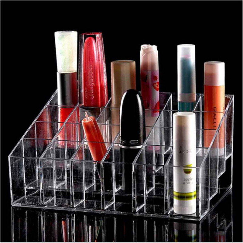 24 Grid Acrylic Lipstick Transparent Jewelry Storage Box Makeup Case Organizer Holder Cosmetics Brush Display Stand
