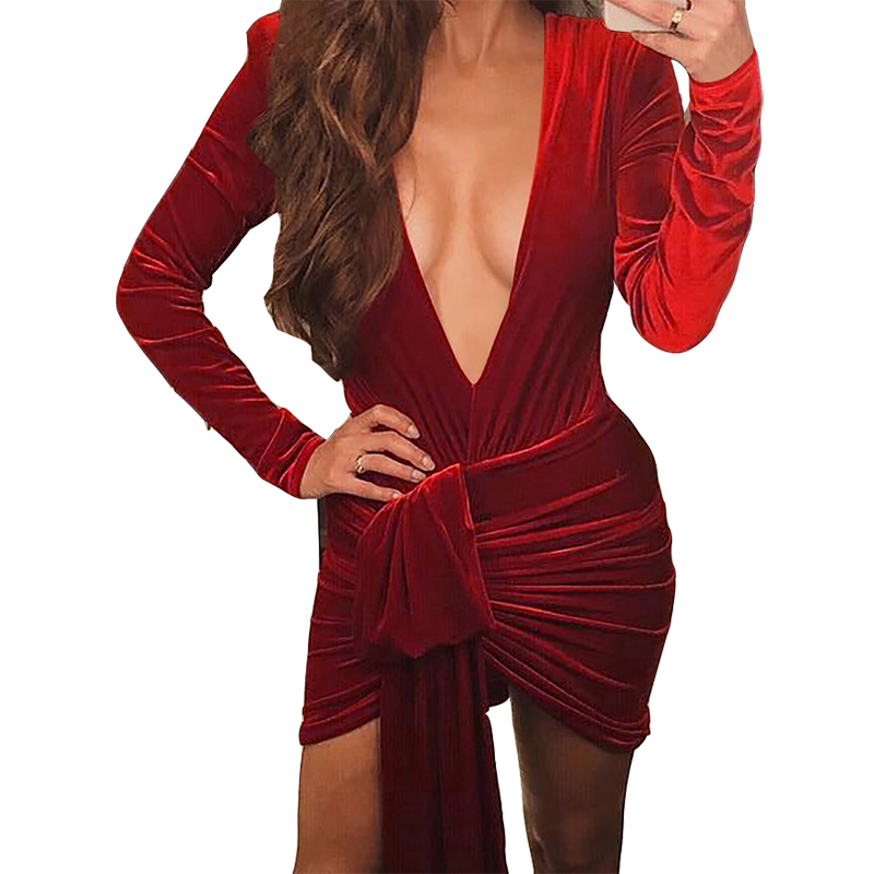 2019 New Fashion Women Velvet <font><b>Dress</b></font> Plunging <font><b>Deep</b></font> <font><b>V</b></font> Neck <font><b>Sexy</b></font> <font><b>Dress</b></font> Club Party Bodycon Bandage Mini <font><b>Dress</b></font> Skinny Irregular M0397 image