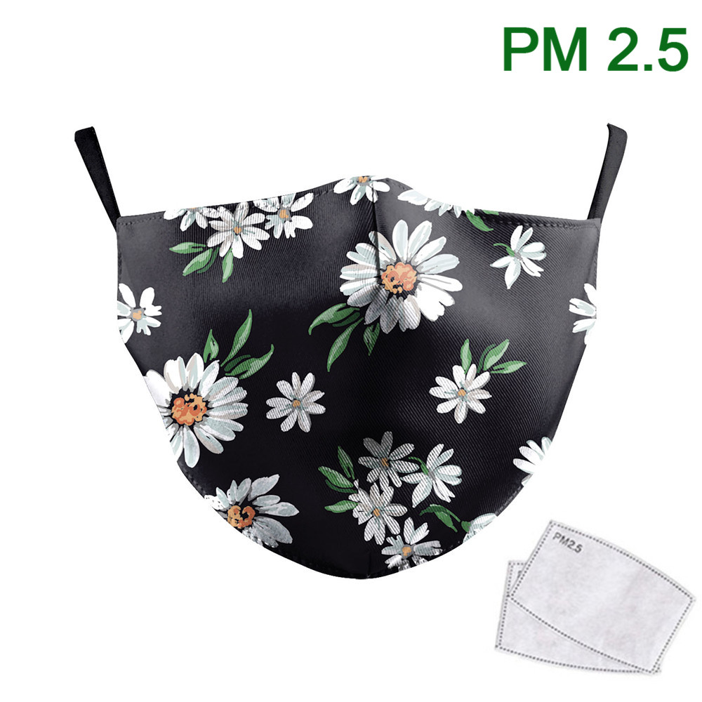 New Daisy Flowers Print Masks On Face Waterable Outdoor Mask PM2.5 Protective Dust Mask Reusable Adjustable Mouth-muffle
