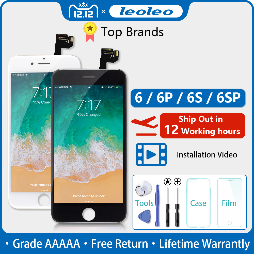 AAAAA For iPhone 6 6s Plus LCD Screen Full Assembly For iPhone 5S 6Plus LCD Full Assembly Complete Camera + Home Button Earpiece image