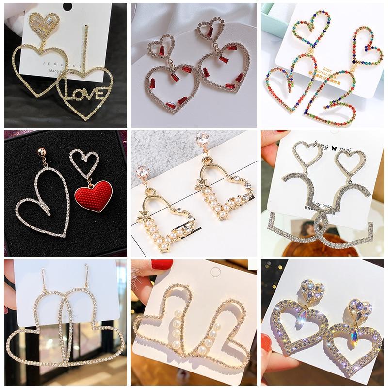 elegant Exaggerated Heart-shaped Hanging Dangle Prevent Allergy Women's Earrings 2020 New Trend Rhinestone Fashion Stud Earrings