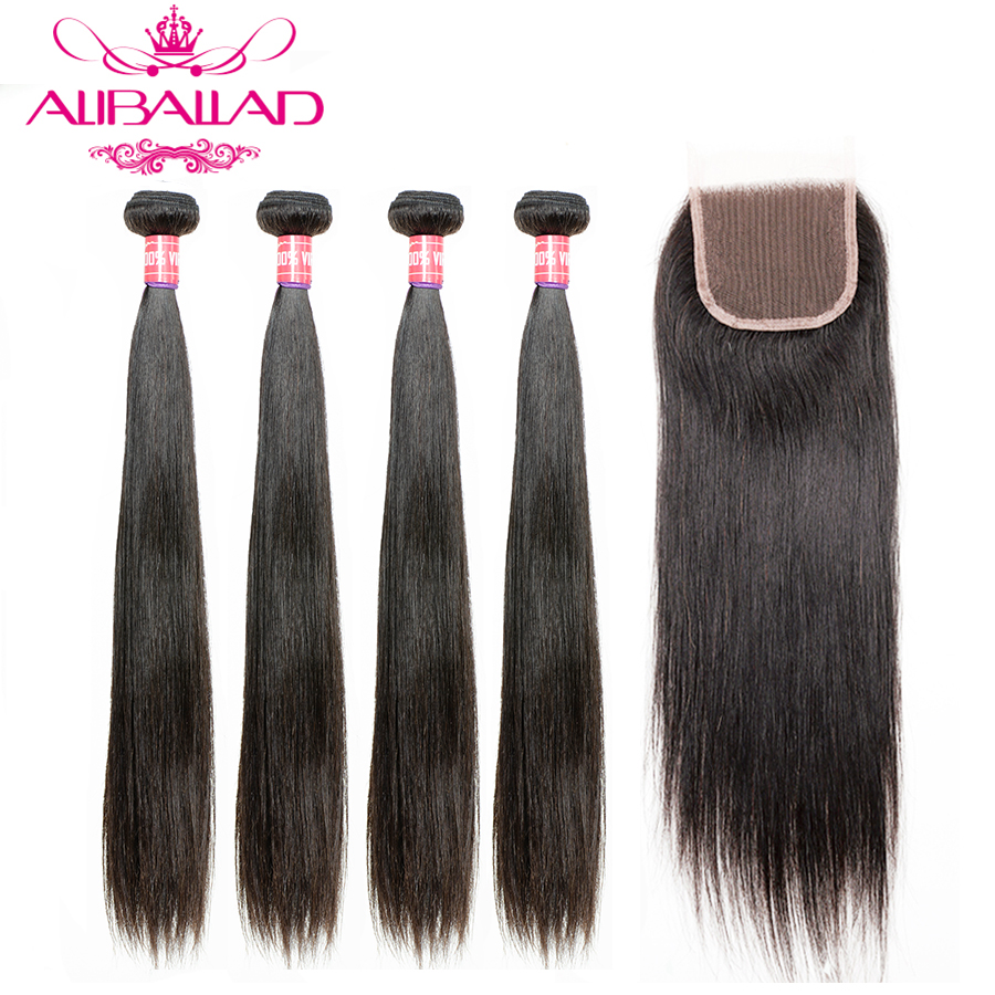 Aliballad Brazilian Straight Hair 4 Bundles With Closure Remy Hair Weave 4x4 Swiss Lace 100% Human Hair Bundles With Closure
